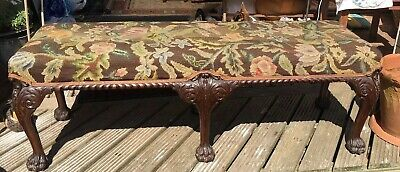 "STUNNING MASSIVE GEORGIAN SIX LEGGED TAPESTRY STOOL BENCH  56""x 19""x19"