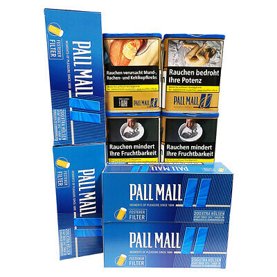 6 x Pall Mall Blau Tabak o.z ,4 x Pall Mall Authentic blue Hülsen