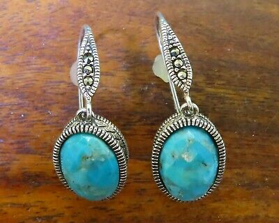 Vintage silver MODERN FACETED TURQUOISE MARCASITE DANGLING DROP earrings