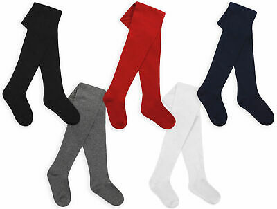 Girls Tights Cotton Rich Plain Knitted Tights Age 2 3 4 5 6 7 8 9 10 11 12 Years