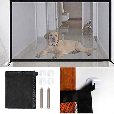 Retractable Pet Dog Gate Safety Guard Folding Baby Toddler Stair Magic Isolation