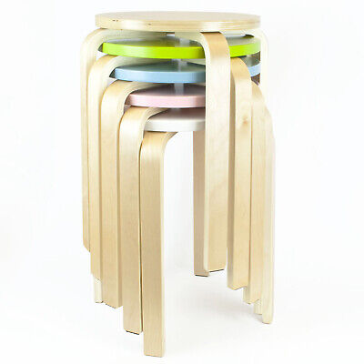 Stackable WOODEN STOOL Home Kitchen Chair Seating Kids Childrens Room Furniture