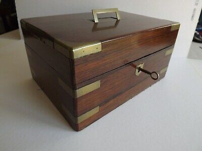 Campaign Style Mahogany & Brass Bound - Jewellery Box - Late Victorian