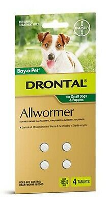 DRONTAL Allwormer Tablet for Small Dogs & Puppies 3kg 4 tablets