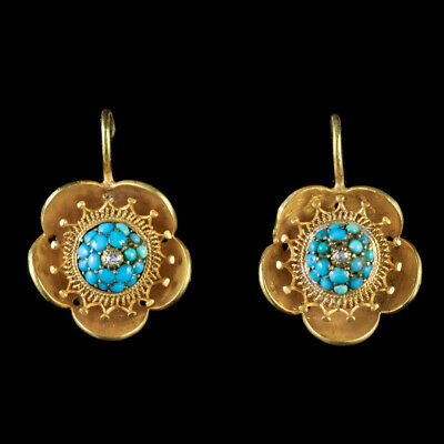 Antique Victorian Flower Earrings 18Ct Gold Turquoise Diamond Circa 1880