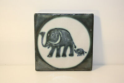 Monika Maetzel Ceramics Coasters/Wall Tile with Motif Elephant