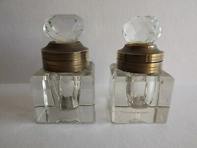 Antique Pair Of Ink Bottles For A Writing Slope - V. Good Condition