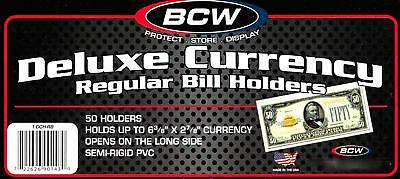 New 50 Count Deluxe Semi Rigid Regular Bill Currency Holder BCW PAP MONEY HOLDER