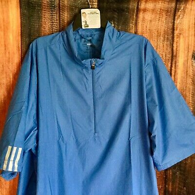 NEW Men's $85 ADIDAS Golf Climaproof Short Sleeve 1/4 Zip Wind Shirt Jacket 3XL