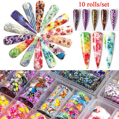 Holographic Flower Nail Foil Leopard Nail Art Decoration Transfer Sticker Decal