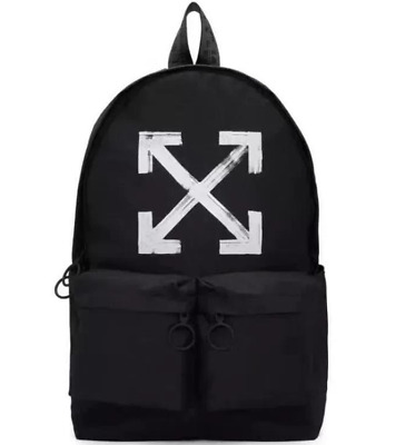 Off-White Men's casual Simple white arrow backpack backpack Backpack Black