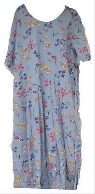 Vermont Country store Blue Floral Print Short Sleeve Pleated Dress