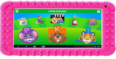 "Little Scholar Mini Kids Learning Tablet 7"" Ages 3-7 White With Pink Cover"