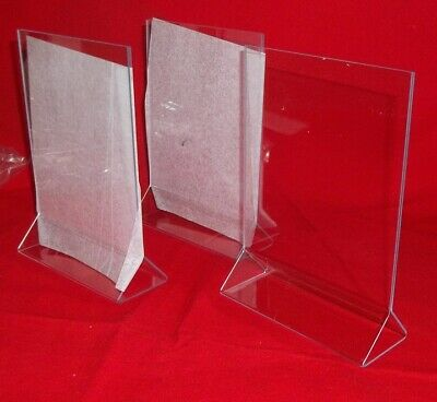 "Three  Acrylic Double Sided Table Sign Holders - Table Tents 5""W x 7""H - New!"
