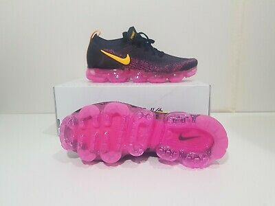 Nike Air Vapormax Flyknit 2, Size 8 Gridiron Laser Orange Pink Black 942842-008