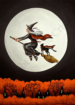 ACEO Halloween folk art print READY FOR ADVENTURE black cat witch flying moon DC