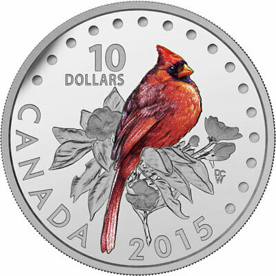 2015 CANADA Northern cardinal from Songbirds of Canada set - $10 99.99% silver