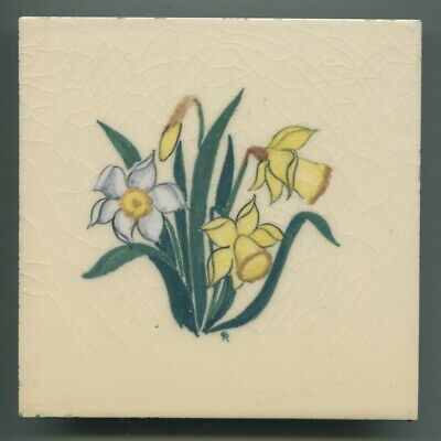 """Handpainted 6""""sq tile designed by Rosalind Ord for Packard & Ord, c1947"""