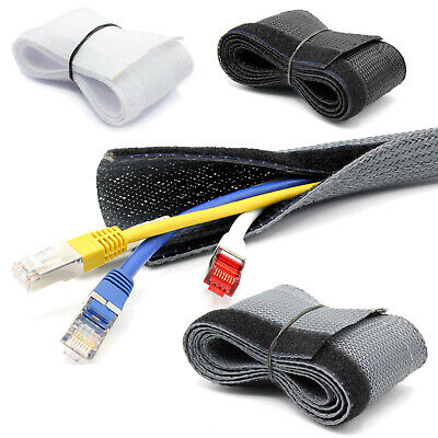 Braided Hose with Touch Fastener Cable Protection Black Grey [ Ø15 20 25 30mm]