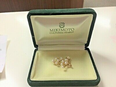 Mikimoto Cultured Pearl 14 Kt Yellow Gold Brooch