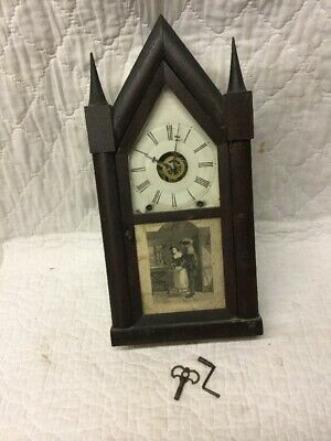 Antique Terry & Downs Forestville Conn Steeple Clock Time & Strike with Alarm