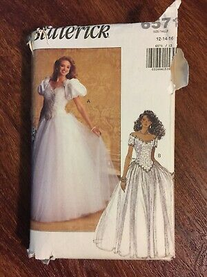 Vintage WEDDING GOWN Sewing Pattern Butterick Uncut Size 12 14 16