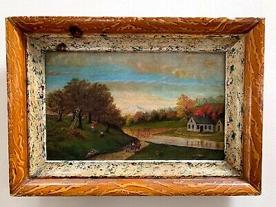 American 19th Oil Painting in a Boldly Paint-Decorated Antique Frame