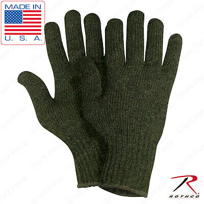 Olive Drab Wool Blend Glove Liner US Made - Winter Weather Blank Military Gloves