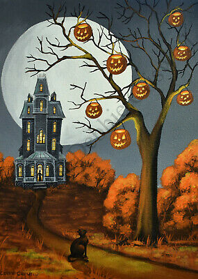 ACEO Halloween folk art print CAT NAMED JACK black JOL haunted mansion house DC