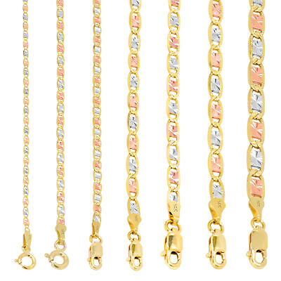 """14K Solid Yellow Rose White Tri Gold 1.5mm-6mm Valentino Chain Necklace 16""""- 26"""""""