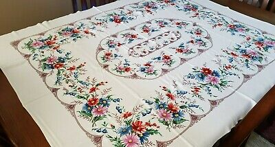 """Vintage Shabby Cottage Floral Tablecloth~54 by 55"""""""