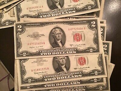$2 Bills 1953 Two Dollar Red Seal Small Size USA Legal Tender Note Bill Currency