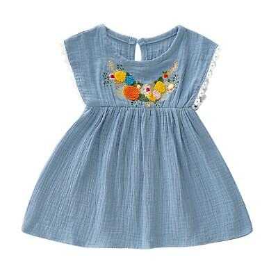Fashion Baby Girl Kids Summer Sleeveless Clothes Embroidered Lace Ruffle Dress