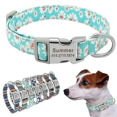 Nylon Cotton Personalized Dog Collar Pet Nameplate Custom Engrave ID Tag Collars