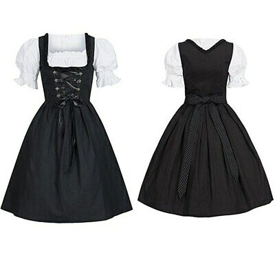Women Traditional German Dirndl Dress Oktoberfest Beer Bavarian Dress Costume AU