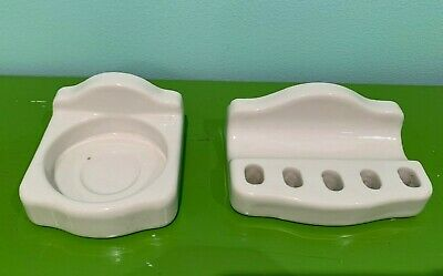 1920's Vintage White Porcelain Bathroom Fixtures Toothbrush Holder & cup holder