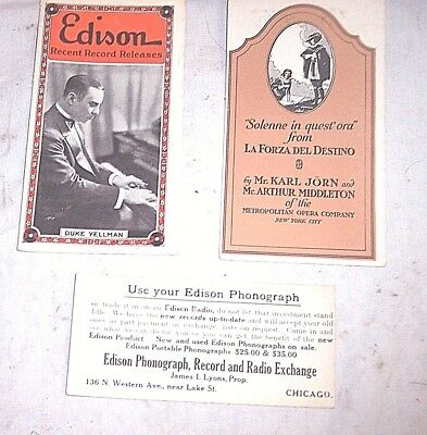 3 Edison Phonograph Pamphlets