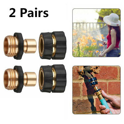 "2 Pairs Brass Hose Tap Adapter Connector 3/4"" Thread Garden Quick Connect Set"