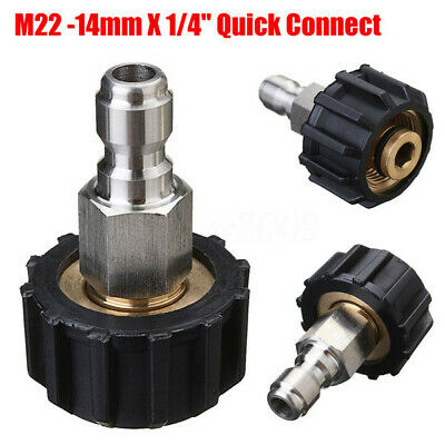 "High Pressure Washer Quick Connect M22-14mm X 1/4"" Inch Quick Connect Adapter"