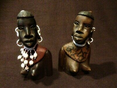 African Wooden Carved Busts x 2. Strong women decorated with native jewellery
