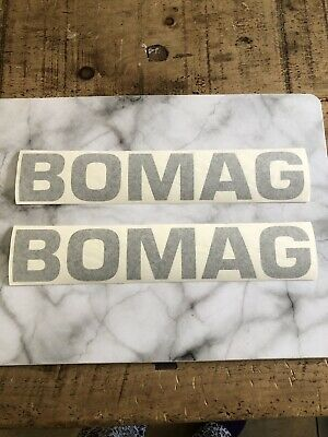 2 X BOMAG DOUBLE DRUM  ROLLER OR PLATE COMPACTOR DECALS  260mm X 50mm GREY
