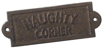 """Cast Iron Sign """"Naughty Corner"""" Shed Man Cave Bedroom Funny Sign Plaque Garden"""