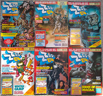 Twelve ZZap! 64 magazines including cover tapes 1992