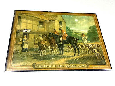 E and B beer sign tin lithograph Detroit Michigan wall tacker Ekhardt Becker old