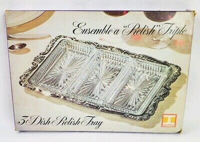Irvinware Relish Tray Silver plated 3 Removable cut glass Dishes vintage new