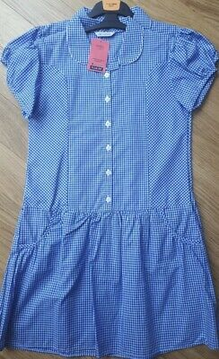 BNWT £16 Girls M&S 2 x Blue Gingham School Dresses Age Size 11-12 Years Plus Fit