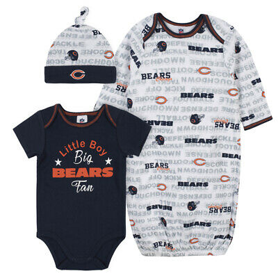 Chicago Bears Baby Onesie Gown & Hat Set 3 Pk - Gerber NFL Newborn 3-6m