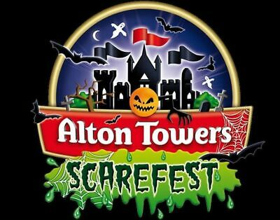 2 x ALTON TOWERS Card Tickets for SCAREFEST on SATURDAY 5th OCTOBER (05.10.19)