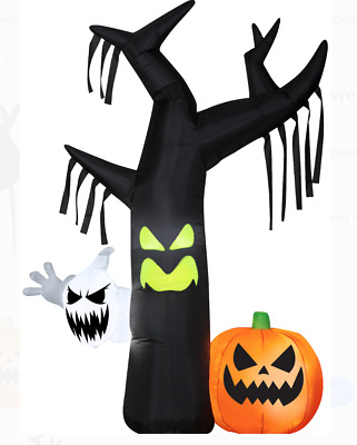 Halloween Decoration Airblown Inflatable Ghostly Tree Scene 7FT Tall In/Outdoor