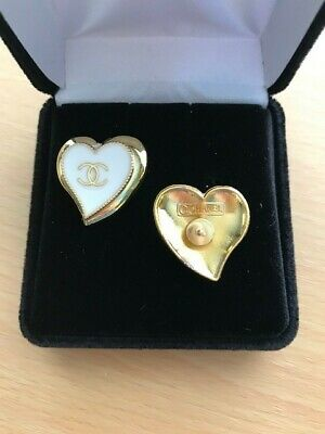 Stamped Chanel Gold Tone and White Enamel Hearts re-purposed button earrings.